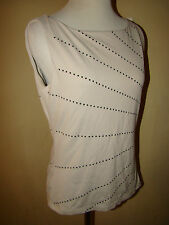 THE LIMITED NUDE BEIGE BLACK SPOTTED DOT ACCENT NYLON SPANDEX BLOUSE TOP SIZE M