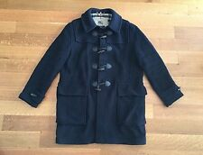 BURBERRY LONDON Mens Navy Blue w Nova Check Wool Duffle Coat Size 54 XL $1995