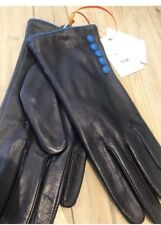 LADIES GLOVES Lined LEATHER BUTTON John Lewis NAVY BLUE M/L BNWT Xmas Gift