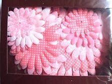20 Pink Tangerine & White Elegant Silk Flowers With 10 Gems, New