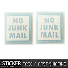 2 x NO JUNK MAIL #1 Sticker Vinyl Gloss White With Avery for your letterbox
