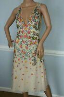 New $5275 Jenny Packham Embroidered Embellished Floral Tulle Dress UK 16 / US 12