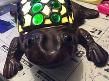Vintage Bronze & Stained Glass Frog Lamp Unique Design Very Heavy.