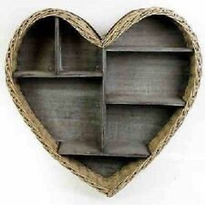 Shabby Chic Wicker Heart Shape Large Wooden Display Shelf Wall Storage Unit