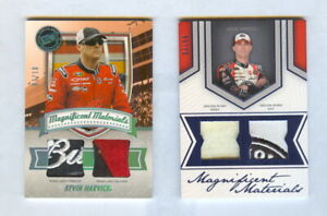 2 CARD KEVIN HARVICK RACE USED MAGNIFICENT MATERIAL LOT