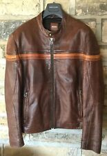 Genuine Hugo Boss Orange Label Quality Soft Leather Bomber Jacket Tan Brown