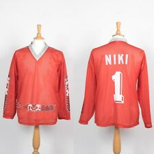 Da Uomo Vintage con mesh leggero Hockey jersey Hockey su ghiaccio Skate Rosso S
