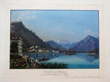 c1850 Thun Thunersee Berner Oberland Schweiz Aquatinta-Ansicht Dikenmann