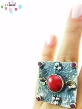 Turkish 925 Sterling Silver Jewelry Authentic Quartz Adjustable Size Ring R2344