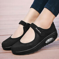 New Womens Casual Slip On Shoes Round Toe Mesh Jogging Walking Athletic Sneakers