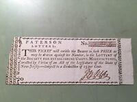 1780 Patterson Lottery Ticket, New Jersey - Alexander Hamilton - AU