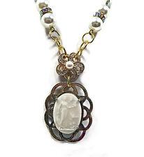 Lady Feeding Bird Cameo Pendant Necklace Hand Made Faux Pearls Rhinestone Brooch