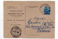 STORIA POSTALE 1948 REPUBBLICA 15 LIRE DEMOCRATICA SU AVVISO RICEVIMENTO D 7210