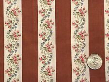 "Vintage Pink Blue Brown Ribbon Floral Stripe Cotton Quilt Fabric 44"" BTHY 1/2"