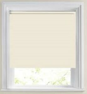 Roller blinds plain blackout cream square edge up to 2.5 mts wide