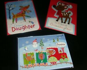 lot 3 new PAPYRUS Christmas greeting cards daughter granddaughter grandson