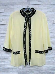 Ming Wang Yellow Black Washable Knit Studded Jacket & Tank Set Twinset L