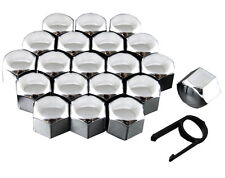 Set 20 17mm Chrome Car Caps Bolts Covers Wheel Nuts For Seat Leon MK1 MK2 MK3