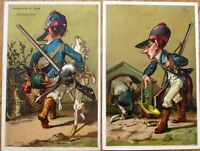 Hunting/Hunter & Dogs 1890 PAIR Trade Cards - Philadelphia, PA, Color Litho