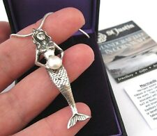 New St Justin Pewter Mermaid Pendant Necklace Real Cultured Pearl Jewellery