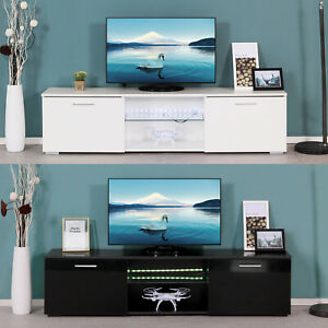 Modern TV Unit Cabinet Stand High Gloss Doors 160cm with LED Lights Drawers