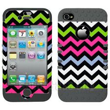 Apple iPhone 4 4S Pink Black Chevron Stripes Case w/ Gray Impact Silicone Cover
