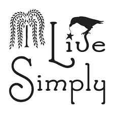 Primitive STENCIL**Live Simply w/willow tree & crow** for painting signs crafts