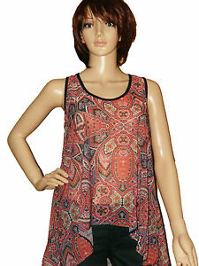 New Ladies Tail Back Sleeveless Tunic Top Red Aztec Print Vest Top T Shirt 6-18