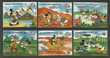 GRENADA GRENADINES 1988 SYDPEX DISNEY Sheep AFL Koala Opera House Camel 6v MNH