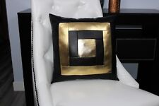 Gold Black block Accent Decorative leather pillow throw case cover cushion couch