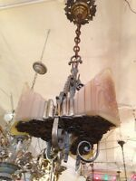 Art Deco 1930s Three Light Brass and Frosted Glass Slip Shade Petite Chandelier