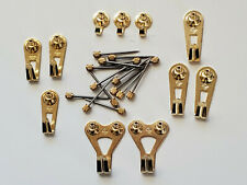 (11 pc) Genuine FLOREAT® Brass Plated Picture Hangers Hooks & Nails, NEW