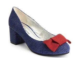 Glitter Shoes 7 8 Blue Suede Lola Ramona EVE CELEBRATE Court Mid Heel UK BNWT