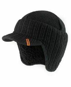 SCRUFFS BLACK WARM WINTER PEAKED BEANIE THERMAL INSULATED OUTDOOR WORK HAT CAP