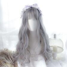 Harajuku Lolita Cosplay Long Curly Hair Blue Gray Mixed Color Gradient Daily Wig