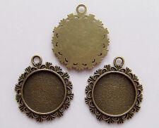 2pz base per Cammeo fiore 34x30mm,fit 20mm foto/ cameo bijoux colore bronzo