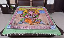 Indian Ethnic Wall Hanging Queen Size Handmade Lord Ganesh Bedspread Blanket Art