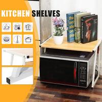 Wooden Steel Kitchen Microwave Oven Rack Shelf Stand Container Storage Holder