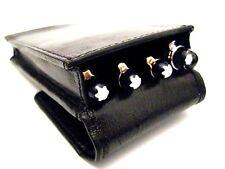 Black Real Leather Triple/Quadruple/four Magnetic Flap Pen Case/Pouch/Holder