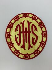 Ihs Latin Cross Emblems Red on Yellow Satin Vestment Altar 2 Pc.