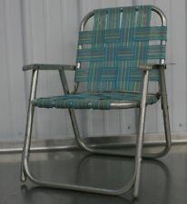 Vintage Mid Century Aluminum Child Size Folding Chair Lawn Patio Retro Turquoise