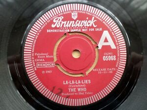 The Who Original Vinyl Single LA-LA-LA-LIES Demo / Promo Copy.Red Brunswick rare