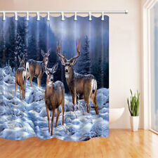 Fabric Shower Curtain White Tail Deer In Snow Forest Waterproof Bathroom & Hooks