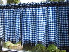 Scheibengardine Bistrogardine Vorhang Shabby Landhaus blau/weiß 0,1 cm 100% BW