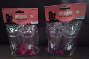 Clear Shot Glasses With White Spider and Red Liquid  Set of 4