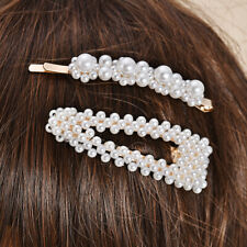 2Pcs Popular Women Pearl Hair Clip Snap Barrette Stick Hairpin Hair Accessories