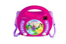 LEXIBOOK Disney Princess Rapunzel CD player for kids with 2 toy microphones, hea