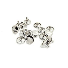 12mm Double Cap Tubular Brass Rivets Studs Leather Crafts - 100 Pcs Silver