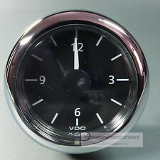 VDO reloj de cuarzo-reloj-clock auto + azul marino 12v Front anillo cromo redondeado
