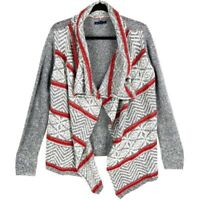 American Eagle Outfitters Womens Open Front Cardigan Sweater Gray Red Chevron S
